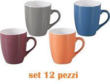 Set 12 Pezzi Tazza Tazzone Porcellana Colorate Latte Colazione Mug dfh