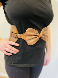 Anthropologie Vintage Leather Bow Belt Sz Small- With Adjustable Buckles