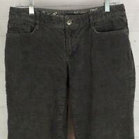 Eddie Bauer womens size 4S stretch solid gray flat front bootcut corduroy pants