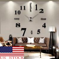 HOT! US DIY  3D Mirror Surface Large Number Wall Clock Sticker Modern Home Decor