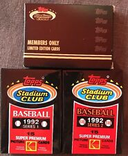 Topps Stadium Club 1991 Members Only Limited Edition Cards & Series 1 & 2 Packs