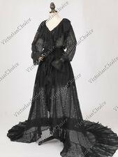 Edwardian Victorian Lace Theater Black Robe Dress Witich Halloween Costume C049