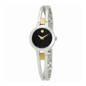 USED Movado Amorosa Black Dial Ladies Stainless Steel Swiss Watch 0607184