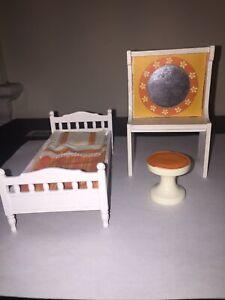 Lundby Single Bedroom Set with Mirror & Stool