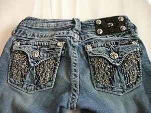 MISS ME Denim Girls Rhinestone Stretch Embellished Low Rise Boot Cut Jean 10