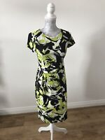 Roman Black,White And Lime Green Floral Wrap Effect Dress -Formal/Work - Size 10