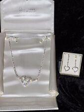 Wedding Bridal Heart NIB Friedman's Necklace/Earrings Rhinestone