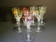 Set of 8 Crystal Stemware Cordials with Colored Rims Honeycomb Bowl, Cut Stems