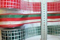 CHRISTMAS Red Ivory & Green Stripe & Plaid Stitch Poly 38mm 3 & 5 Metre Choice
