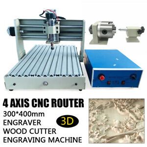 4 Axis 3040 CNC Router Engraver Engraving Mill Drill Machine 400W Wood Cutter