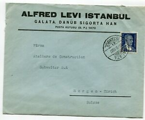 Turkey cover Galata Istanbul to Horgen Switzerland 20.9.1937