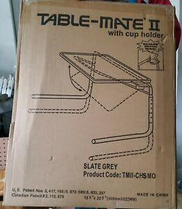 Table Mate II Folding TV Tray Table and Cup Holder with 6 Height and 3 Angle Adj