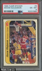 1986 Fleer Sticker Basketball #9 Akeem Olajuwon Rockets RC Rookie HOF PSA 6