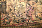 """Antique Old  Oriental Asian Tapestry France???  43 3/4""""W x 28""""H BEAUTIFUL!!!!"""