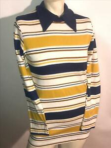 VTG 70S WOMENS SUPER STRIPE SUPER CUTE DISCO LONG SLEEVE POLO MINI SHIRT DRESS