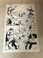 Stormwatch #36 original art TONS OF FIGHTING 1996 Image Wildcats Wetworks GEN 13