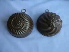 More details for vintage copper jelly/sweet moulds tin lined x 2 height 5 + 6 cm diameter 11 cm