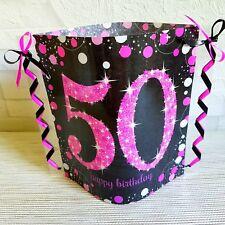 Tischdeko-Windlicht aus Servietten-50.GEBURTSTAG-Happy Birthday- pink/schwarz
