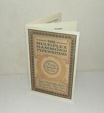 Multiplex Hammond Typewriter Brochure Manual Reproduction