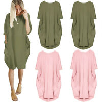 Italian Lagenlook Quirky Boho Jersey Soft Cotton Stretch Pocket Tunic Dress