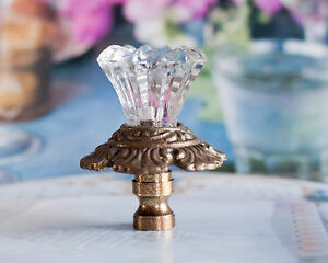 One of Clear Hand Made Cut Glass Lamp Shade Finial Fit Standard Harp Thread