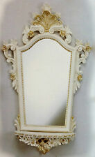 Wall Mirror Baroque with Console White Gold Storage Antique 78x50 Oval CP93