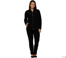 Denim & Co. Active Regular Fleece Zip Front Jacket And Pant Set Size 1X Black