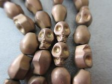 Hematite Matte Gold Electroplated Skull Beads 38pcs