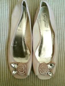 Pink floral bead embellished flat slip on shoes , NEW LOOK , 8 , V G COND