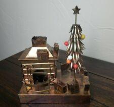 Metal Art Christmas Scene Music Box Ktc Plays White Christmas Copper Tealight