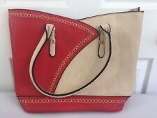 Purse Handbag New Leather Red Cream