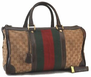 Authentic GUCCI Web Sherry Line Hand Boston Bag GG Canvas Leather Brown C3742
