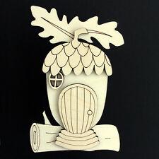 Wooden Fairy Elf Pixie Door Shape Blank Craft Kit Acorn Style Version 2