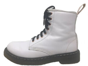 Dr. Martens Junior 1460J Softy T Leather Lace Up Boots White Black Gold Youth 3