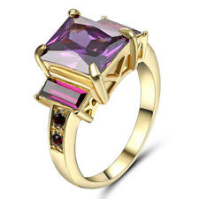 Size 9 Purple Amethyst CZ Crystal Women's 10Kt Yellow Gold Filled Wedding Ring