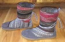 TOMS LADIES SOUTHWEST MULTI TRIBAL GRAY/RED LACE BOOTS SIZE 9 - GREAT SHAPE!