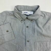 Old Navy Button Up Shirt Men's Size Large Long Sleeve Gray Slim Cotton Blend