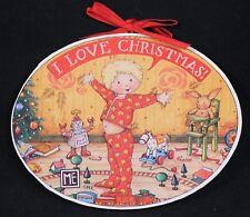Mary Engelbreit Wood Christmas Ornament I Love Christmas