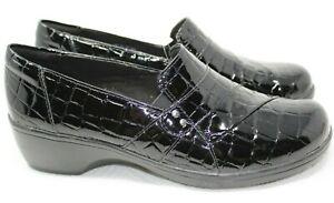 Clarks Women's May Marigold Slip-On Loafer, Black Croc Sz 7.5 Wide NWOB 13-7