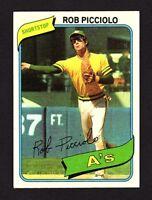 1980 Topps #158 Rob Picciolo Oakland Athletics Baseball Card EX/MT