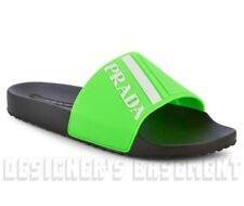 PRADA men 10 neon Green & white GRAPHIC LOGO slides FLIP-FLOPS shoes NIB Authent