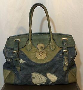 Ralph Lauren Collection Ltd Edition Ricky Blue Lizard Distressed Denim Bag #50