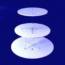 Three Tier Classic Round Cake Stand - White with clear plain pillars