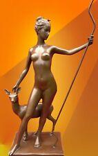ART DECO BRONZE STATUE McCARTAN DIANA DOE FIGURE HOT CAST SIGNED NUDE FIGURINE