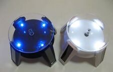 A Pair of Auto Spin LED Display Figure Show Stand Base Solar & Battery Powered