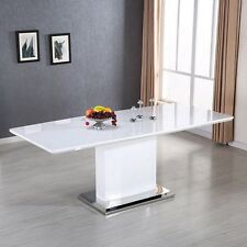 Modern High Gloss White MDF Extendable Dining Table W/ Stainless Pedestal