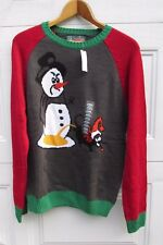 Ugly Christmas Sweater Holiday Sad Snowman Dog Yellow Snow M New