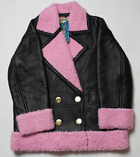 KENZO x H&M BLACK 100% LEATHER JACKET PINK FAUX NWT WOMENS SIZE M
