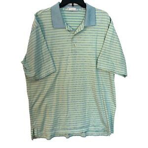 Peter Millar Polo Shirt Mens Large Blue Green Striped Cotton Short Sleeve Casual