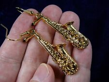 (M-15-D) ALTO SAX Saxophone EARRINGS  24k gold plate JEWELRY minitaure saxes